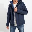 HCO Hollister 年度熱銷經典印刷標誌鋪棉連帽風衣外套-深藍色