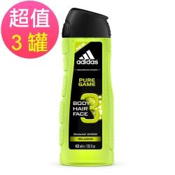 adidas愛迪達 男用三效潔顏洗髮沐浴露(極限挑戰)x3罐(400ml/罐)