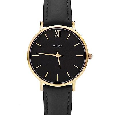 CLUSE荷蘭精品手錶 MINUIT系列金框黑錶盤黑色皮革錶帶33mm