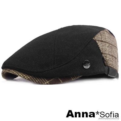 AnnaSofia X拼接單飾釦 毛料鴨舌帽小偷帽(黑系)