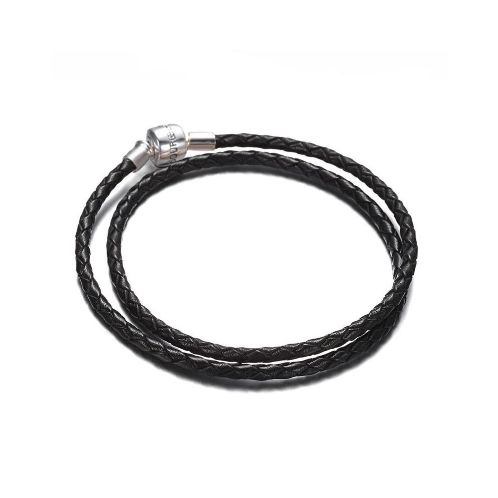 SOUFEEL索菲爾 925純銀珠飾 雙層牛皮手鍊 迷情黑