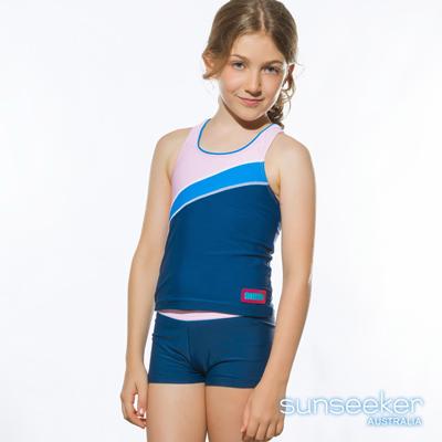 加大款澳洲Sunseeker泳裝抗UV防曬運動款兩件式泳衣-大女童/粉藍