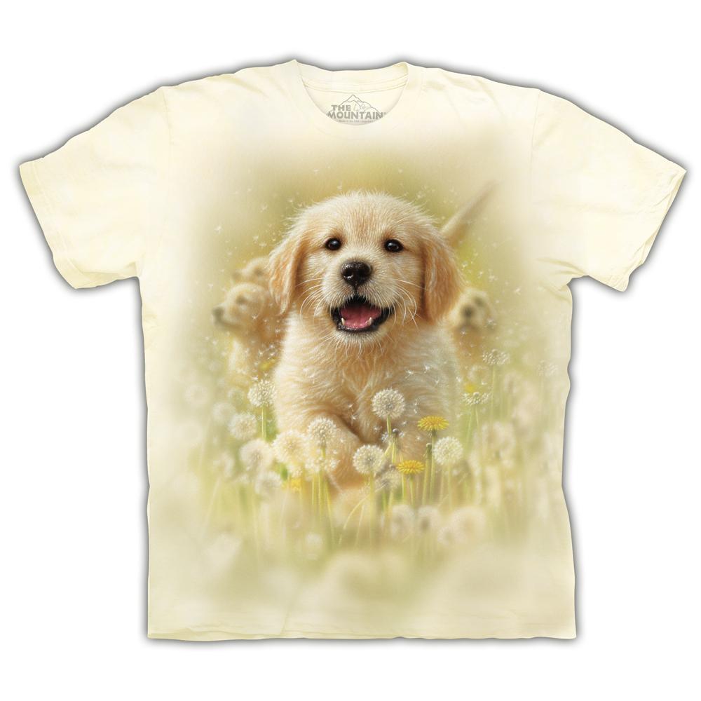 摩達客 美國進口The Mountain  微笑小黃金獵犬 純棉環保短袖T恤