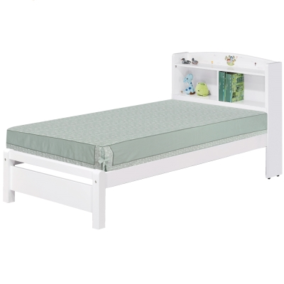 品家居 悠娜3.5尺白色單人床台(不含床墊)