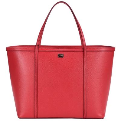 DOLCE & GABBANA 壓紋牛皮托特包(紅包)