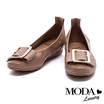 娃娃鞋 MODA Luxury 摩登時尚金屬方型釦全真皮內增高娃娃鞋-杏