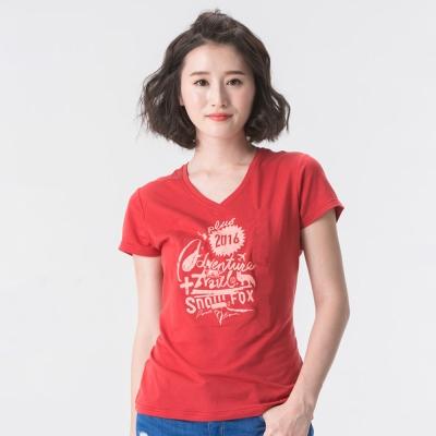 【SNOWFOX 雪狐】新銳插畫家劉經瑋聯名圖T/女款V領短袖T恤AT-81616W紅