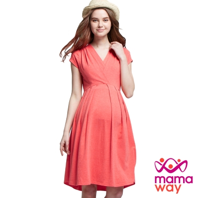 孕婦裝 哺乳衣 典雅雙圍裹打褶洋裝(共二色) Mamaway
