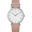 TIMEX 天美時 週末Fairfield系列 晶鑽時尚優雅手錶 白x粉紅/37mm