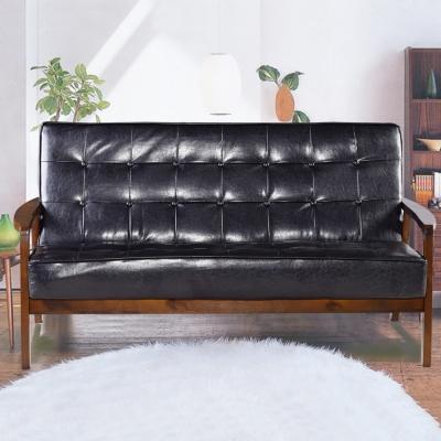 日式懷舊經典復古亮皮沙發-三人座沙發-強化版組裝好