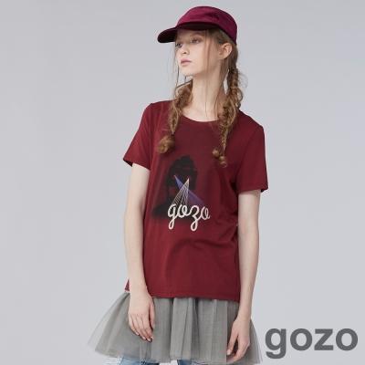 gozo遮眼街頭女孩造型T恤三色