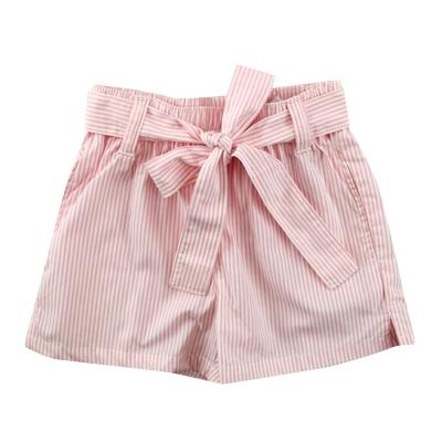 愛的世界 SUPERMINI 純棉綁帶開衩直條紋短褲/6~8歲