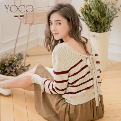 東京著衣-yoco 法國女孩條紋後綁帶針織上衣-S.M.L(共二色)