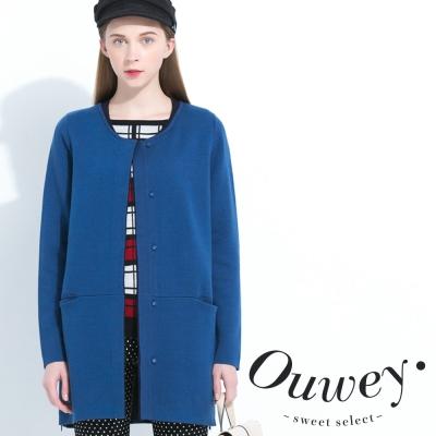 OUWEY歐薇-圓領開口袋針織外套