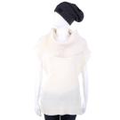MICHAEL KORS 米白色可拆式高領羊毛短袖上衣(70%WOOL)