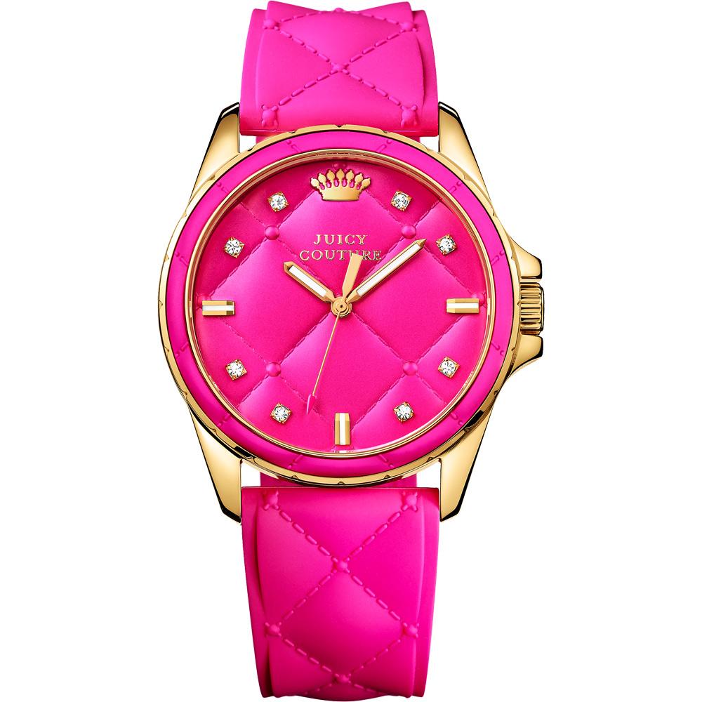 Juicy Couture Stella 時尚菱格優雅腕錶-桃紅x玫塊金框/40mm