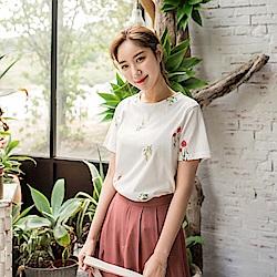 花草刺繡設計高含棉圓領上衣-OB嚴選
