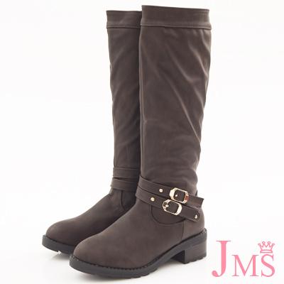 JMS-經典素面金屬雙扣環長靴-咖啡色
