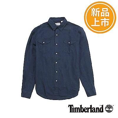 Timberland 男款暗藍色Mill River長袖漸層襯衫