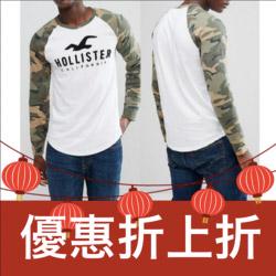 Hollister海鷗迷彩牛角袖長袖T恤