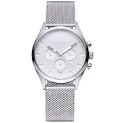 TAYROC 英式風尚米蘭帶計時手錶-白X銀/42mm