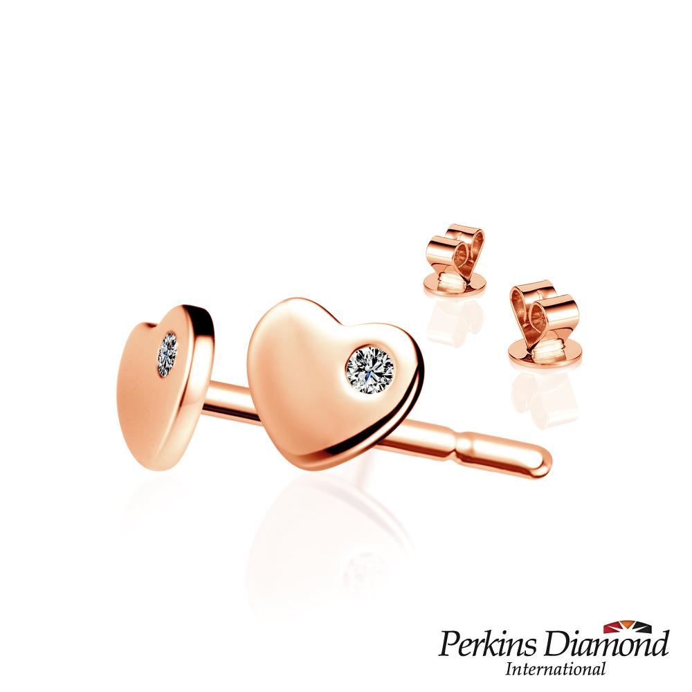 PERKINS 伯金仕 - Heart系列 14K玫瑰金鑽石耳環