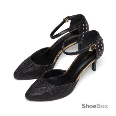 鞋櫃ShoeBox-高跟鞋-縷空金蔥中空跟鞋-黑
