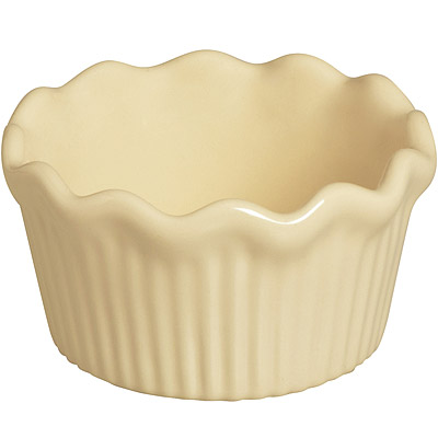 EXCELSA Chic陶製荷葉邊布丁烤杯(淺奶油9cm)