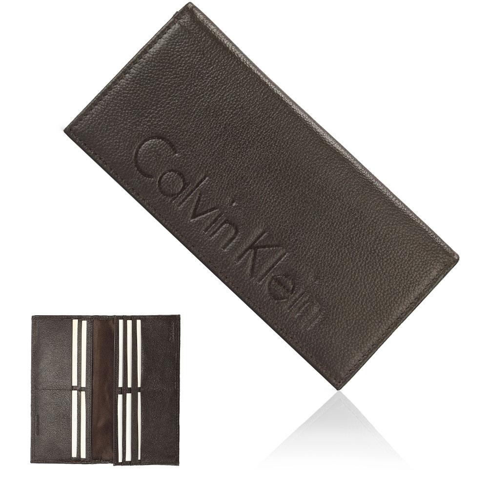 Calvin Klein 荔枝紋壓印LOGO多卡長夾禮盒-咖啡色