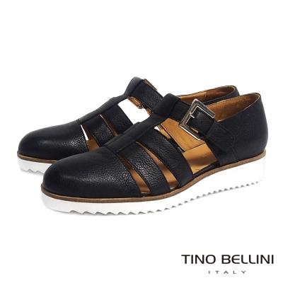 Tino Bellini 個性線條鏤空小坡跟真皮鞋_黑
