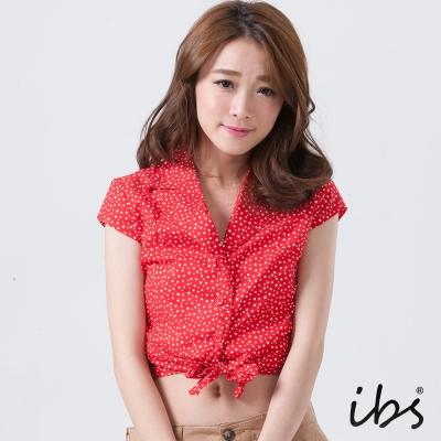 IBS 星星印花綁帶短版罩衫-紅-女