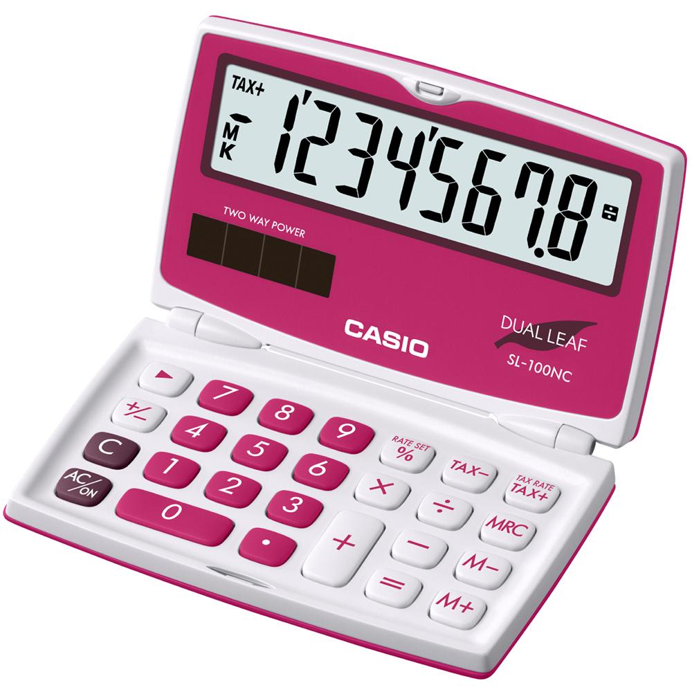 CASIO 8位數亮眼新色口袋硬殼型計算機(SL-100NC-RD)玫紅色