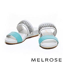 拖鞋 MELROSE 閃耀水鑽排列設計羊皮拖鞋-藍