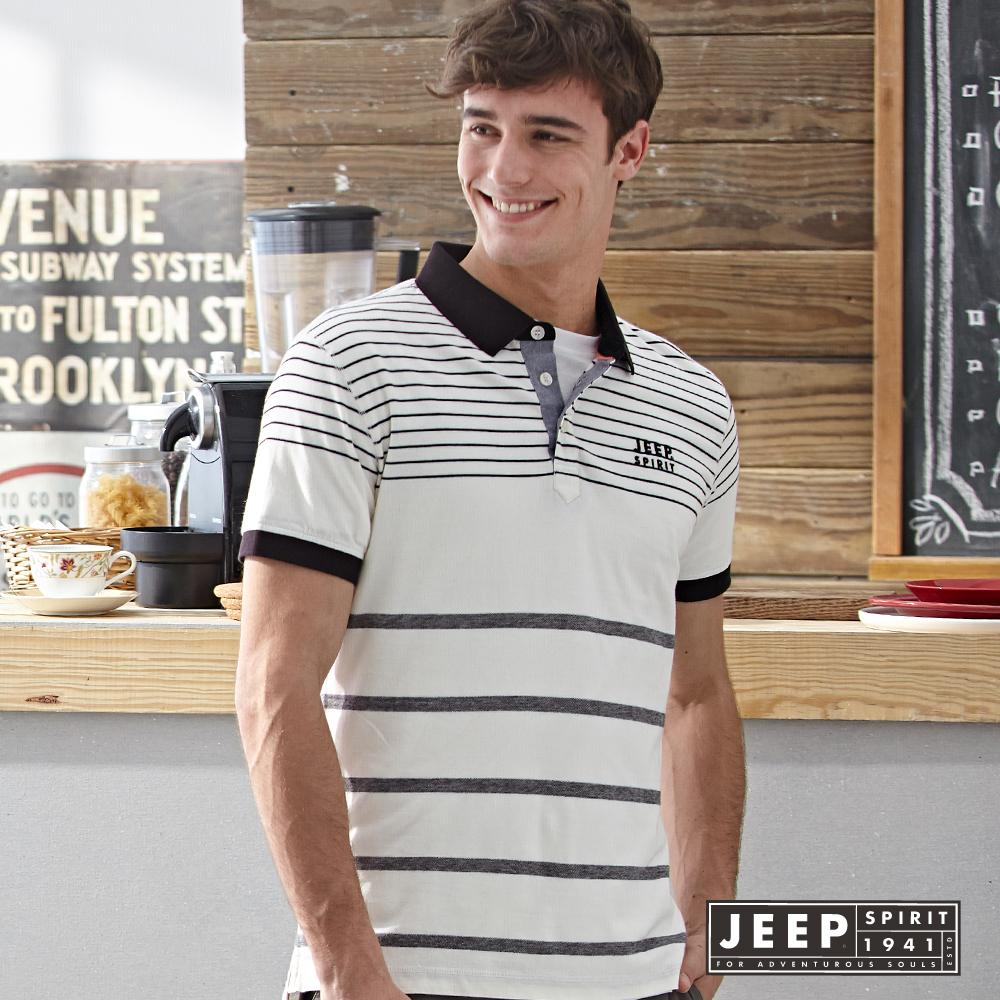 JEEP經典百搭美式條紋短袖POLO衫 (白色)