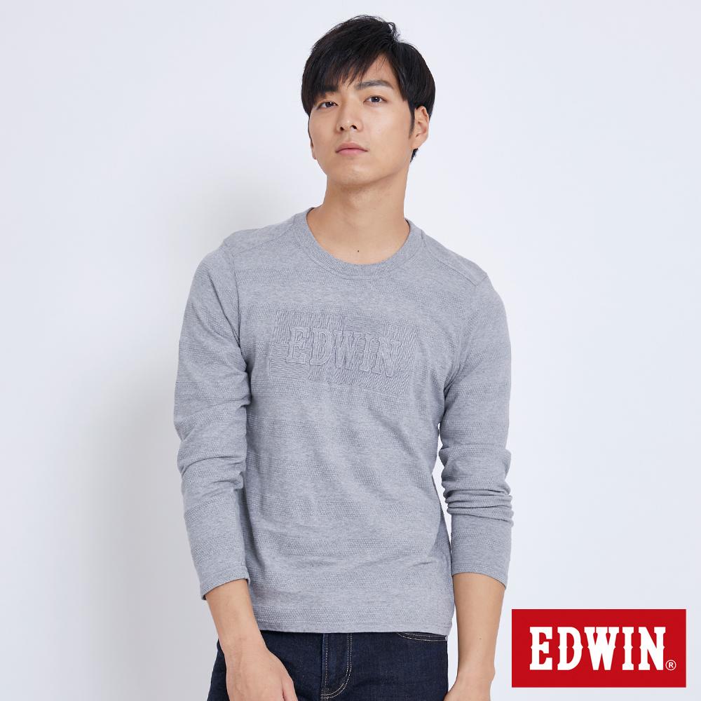 EDWIN 凸版圓點LOGO長袖T恤-男-麻灰