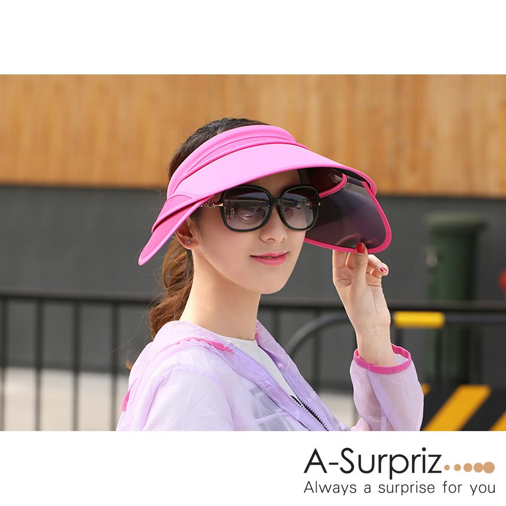 A-Surpriz 空頂伸縮鏡片抗UV帽(桃)附防風繩