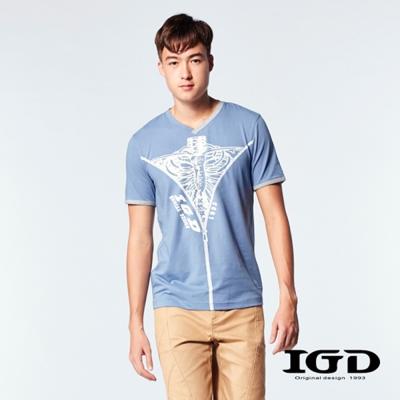 IGD英格麗-V領跳色剪接骨骼印圖棉T