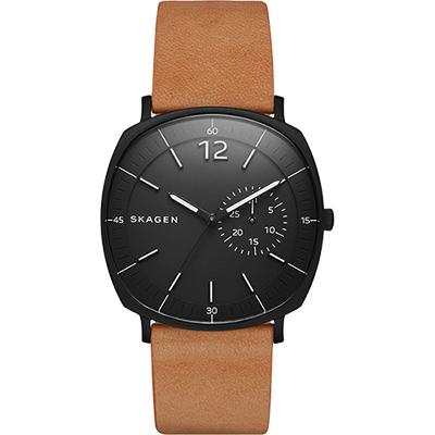 SKAGEN Rungsted 方圓時尚錶-黑x棕/41mm