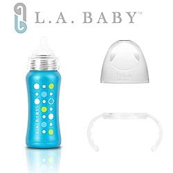 美國L.A. BABY 學習杯套組-超輕量不鏽鋼保溫奶瓶 極光藍 +Tritan學習握把