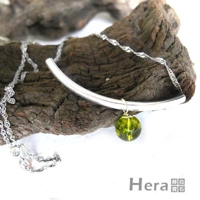 Hera 925純銀手作天然橄欖石U形項鍊/鎖骨鍊