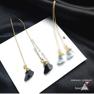 LuciTA 空運限量新品 浮生若夢大理石紋垂墜式耳環
