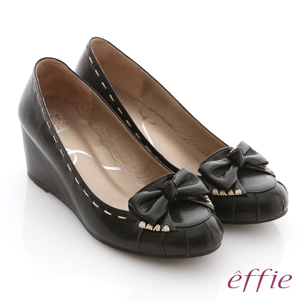 effie 立體幾何 全真皮抓皺縫線蝴蝶楔型鞋 黑