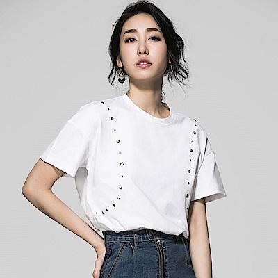 SUITANGTANG 珠釦短袖上衣-白