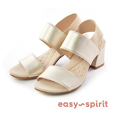 Easy Spirit--彈性布料一字粗跟涼鞋-優雅金