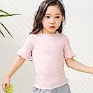 BEBEZOO 韓國 兩色花邊皺折素色短袖上衣