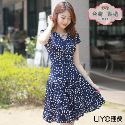 LIYO理優洋裝MIT圓點連身裙-深藍
