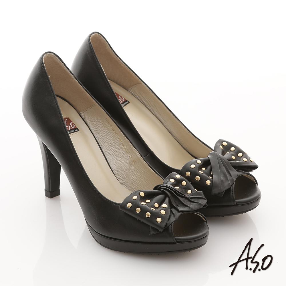 A.S.O 異國系列 全真皮鉚釘蝴蝶結露趾高跟鞋 黑
