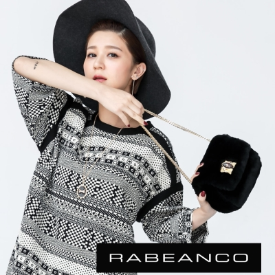 RABEANCO-迷時尚牛皮系列多way轉釦晚宴小包-黑