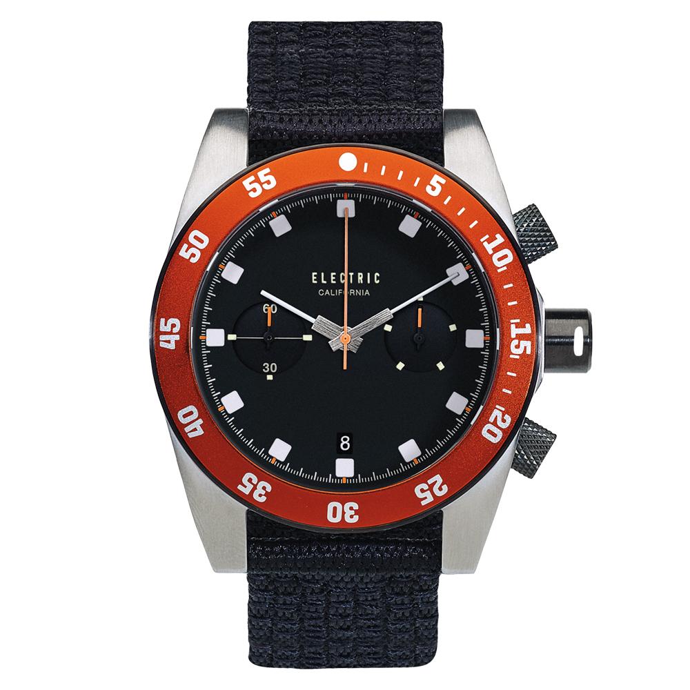 ELECTRIC DW02系列-時尚雙眼設計計時腕錶-黑面x橘圈/44.5mm