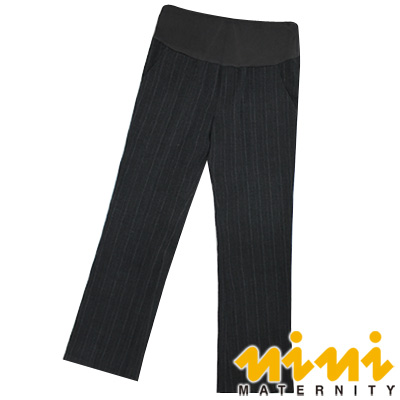 nini專櫃孕婦裝-都會女仕-簡約大方條紋拼接孕婦長褲-深灰-U4W43